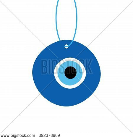 Evil Eye Protection Talisman, Nazar Amulet. Turkish Blue Eye-shaped Amulet On A Rope, String.