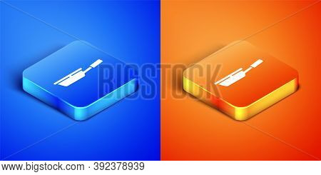Isometric Frying Pan Icon Isolated On Blue And Orange Background. Fry Or Roast Food Symbol. Square B