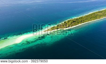 Tropical Landscape: Island With Beautiful Beach By Turquoise Water View From Above.little Santa Cruz