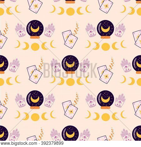 Fortune Pattern. Magic Crystal Ball In Hands, Moon, Cards Pattern. Crystal Ball Future Hand Drawn Se