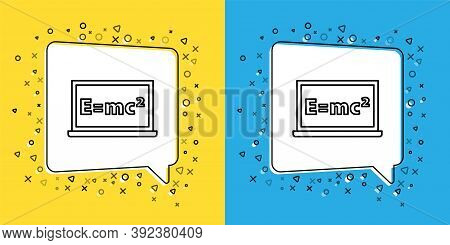 Set Line Math System Of Equation Solution On Chalkboard Icon Isolated On Yellow And Blue Background.