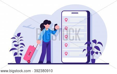 Online Booking Flight Tickets. Woman Buying Ticket With Smartphone. People Waiting For A Flight. Mod
