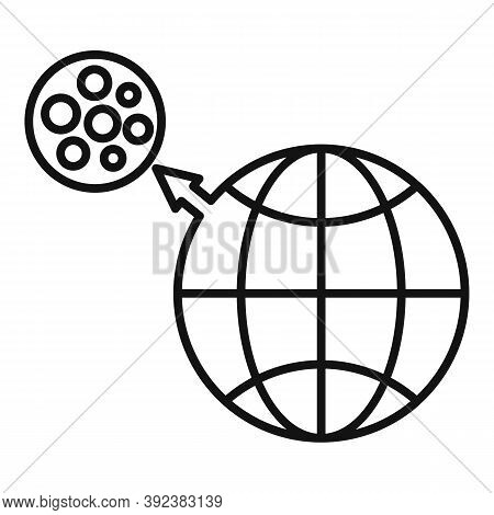 Earth Moon Gravity Icon. Outline Earth Moon Gravity Vector Icon For Web Design Isolated On White Bac