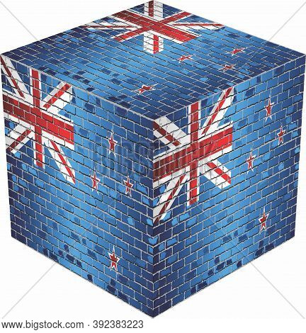 New Zealand Cube In Made Of Bricks - Illustration,  Three Dimensional Flag Of New Zealand