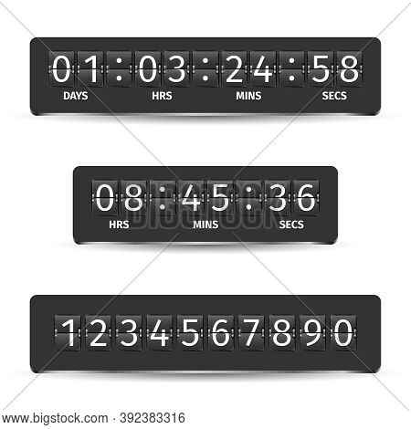 Countdown Clock Timer Analog Display Mechanical Time Indicator Black Vector Illustration