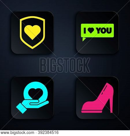 Set Woman Shoe With High Heel, Heart With Shield, Heart On Hand And Speech Bubble With I Love You. B
