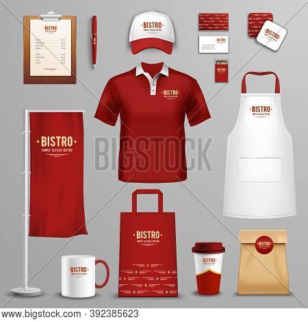Corporate And Identity Design For Bistro Restaurant Chain In Three Colors Icons Collection Abstract