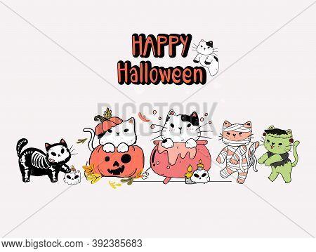 Cute Group Of Kitten Cat Halloween Costume Party, Doodle Cartoon Illustration, Set Of Halloween Cat