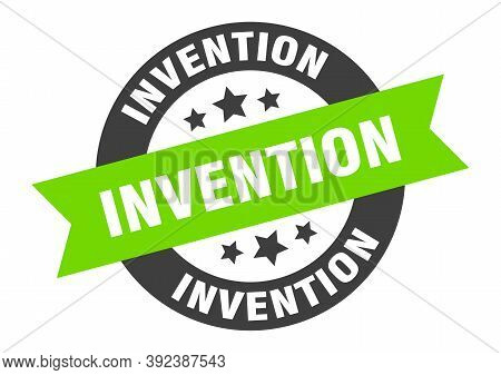 Invention Sign. Round Isolated Sticker. Ribbon Tag