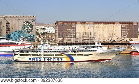 Piraeus, Greece - October 15:  An Anes Ferries Ship Arrives In Piraeus, Greece On October 15, 2019.