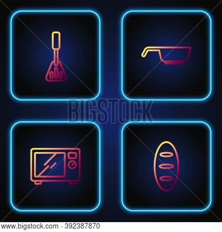 Set Line Bread Loaf, Microwave Oven, Spatula And Frying Pan. Gradient Color Icons. Vector