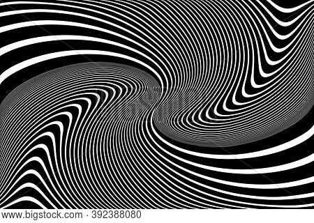 Abstract op art design. Illusion of whirl movement. Wavy lines texture.
