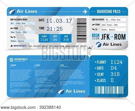 Colored Realistic Boarding Pass Composition With Information About Passenger On The Front Side And T