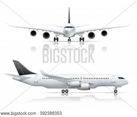 Large Passenger Jet Airliner Front And Side Airplane View Realistic Set White Background Reflection