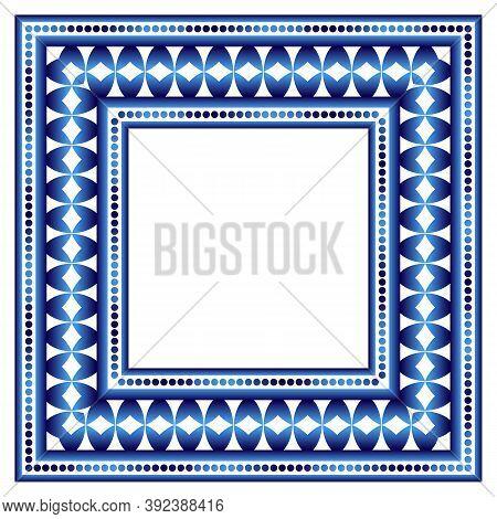 Border Frame Ceramic Tile Pattern. Islamic, Indian, Arabic Motifs. Damask Border Seamless Pattern. P