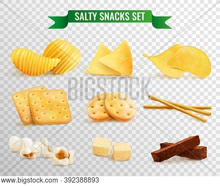 Collection Of Salty Snacks Images On Transparent Background With Realistic Pieces Of Chips And Cooki