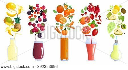 Smoothie Colored Isolated Composition With Five Icon Set And Recipes Of Smoothie Vector Illustration