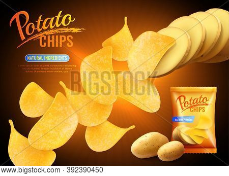 Potato Chips Advertising Composition With Realistic Images Of Crisps Natural Potatoes And Pack Shot