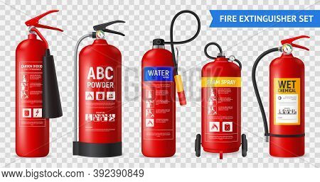 Realistic Fire Extinguisher Set With Isolated Portable Fire-fighting Units Of Different Shape On Tra