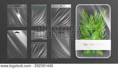 Polyethylene Plastic Wrapping Packages Isolated Realistic Icon Set With Green Time Description On Th