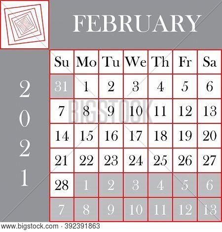 Square Format 2021 Calendar February Gray White Background Designer Cut