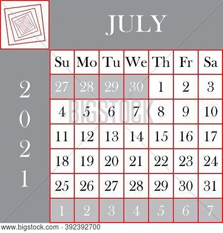 Square Format 2021 Calendar July Gray White Background Designer Cut
