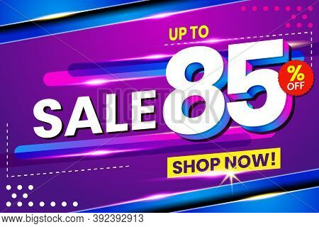 Vector Graphic Of Abstract 85 Sale Percent Banner Light Effect Background. Perfect For Retail, Broch