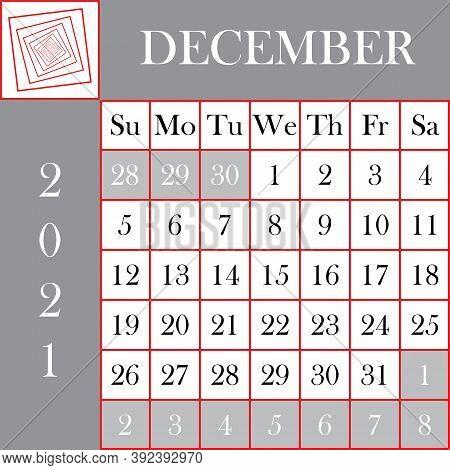 Square Format 2021 Calendar December Gray White Designer Cut