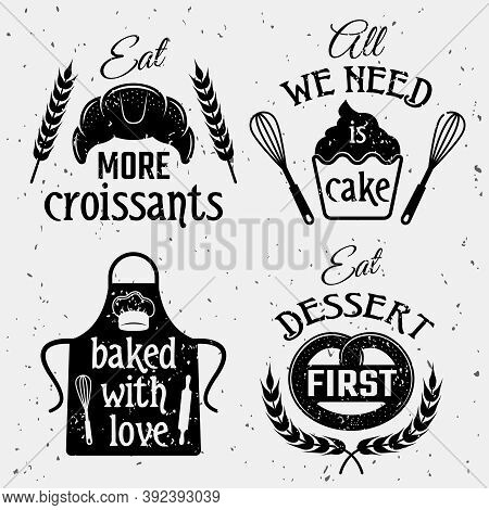 Bakery With Quotes Monochrome Set Including Typographic Sayings Pastry Culinary Tools On Texture Bac