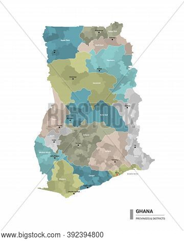 Ghana Higt Detailed Map With Subdivisions. Administrative Map Of Ghana With Districts And Cities Nam
