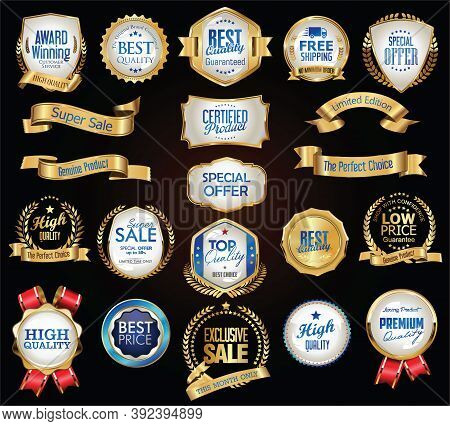 Retro Vintage Gold And Blue Badges Labels And Ribbons