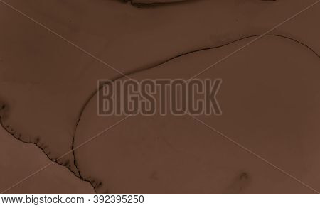 Paint Chocolate Texture. Brown Creamy Background. Black Biscuit Pattern. Watercolour Cocoa Splash. A