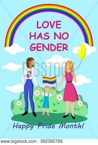 Poster Love Has No Gender. Happy Pride Month. Support For The Lgbt Community. Equality And Rights. L