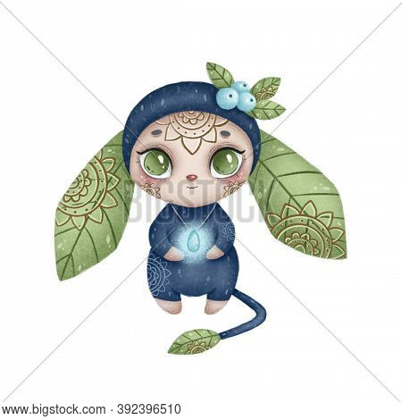 Illustration Of A Cute Cartoon Magic Forest Monster. Blue Fantastic Monster With Ears Of Leaves And