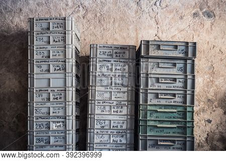 Castellammare Di Stabia, Italy - August 26 2020: Archeological Finds Trays At Villa Arianna In Stabi