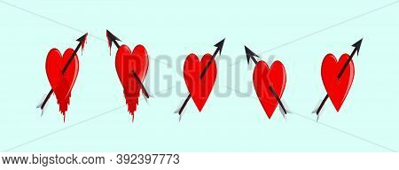 Set Of Arrow Through Heart Cartoon Icon Design With Various Models. Vector Illustration. Isolated On