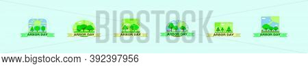 Set Of Nature Logo And Badges Cartoon Icon Design Template With Various Models For Arbor Day. Vector