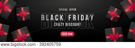 Black Friday Horizontal Banner. Black Gift Boxes With Red Ribbon For Black Friday Sale. Concept Temp