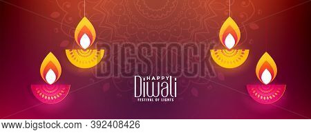 Happy Diwali Celebration Banner With Glowing Diya Vector Design Illustration
