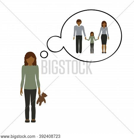 Orphan Girl Is Thinking About Her Family Vector Illustration Eps10