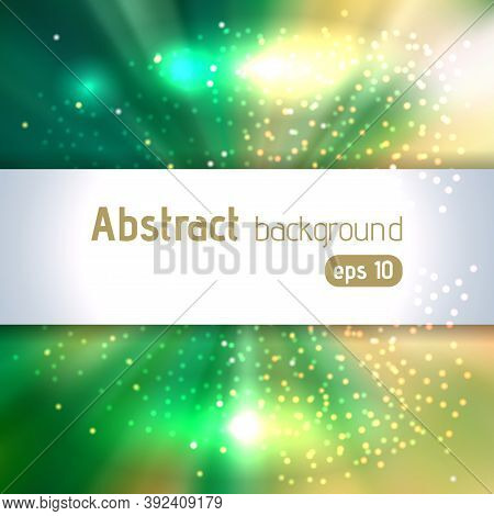 Green Rays Background With Place For Text. Abstract Motion Blur Background With Power Explosion. Vec