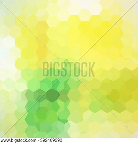Vector Background With Yellow, Green Hexagons. Can Be Used In Cover Design, Book Design, Website Bac