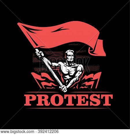 A Man With A Flag. A Muscular Man With A Naked Torso Waves A Large Flag. Lots Of Flags. Protest, Mee