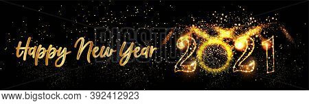 Happy New Year 2021 Posters Background With Golden Light Background Text Vector Illustration - Happy