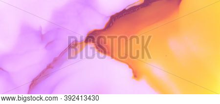 Watercolor Blur Background. Abstract Liquid Splash. Alcohol Ink Pattern. Color Oil Spots. Pink Water