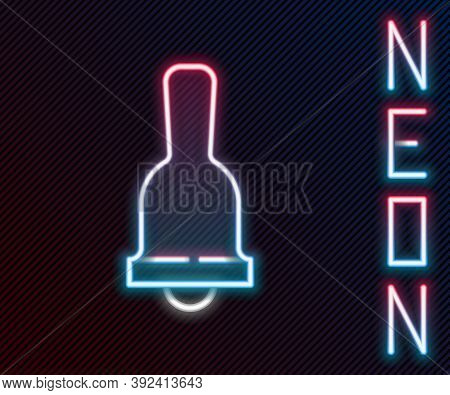 Glowing Neon Line Ringing Bell Icon Isolated On Black Background. Alarm Symbol, Service Bell, Handbe