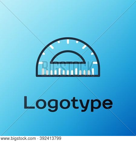 Line Protractor Grid For Measuring Degrees Icon Isolated On Blue Background. Tilt Angle Meter. Measu