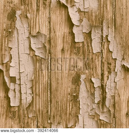 Brown Crackle Paint. Worn Broken Pattern. Ancient Aged Frame. Distress Wood Background. Crackle Pain