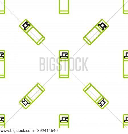 Line Shaving Gel Foam Icon Isolated Seamless Pattern On White Background. Shaving Cream. Vector