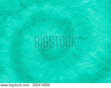Neo Mint Tie Dye Batik. Crumpled Paper. Green Aquarelle Background. Handmade Painting. Blue Shibori